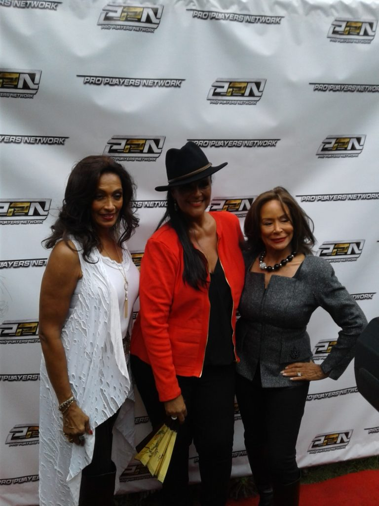 Jayne Kennedy-Overton(C) takes time to pose with friends Kathleen Bradley-Redd(L) and Freda Payne (R). Photo by The Scoop LA