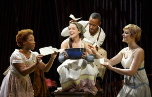 "Laurie Veldheer as Cinderella with Eleasha Gamble, Anthony Chatmon II and Vanessa Reseland in the Fiasco Theater production of ""Into the Woods,"" which plays April 4 through May 14, 2017, at Center Theatre Group/Ahmanson Theatre. For tickets and information, please visit CenterTheatreGroup.org or call (213) 972-4400. Media Contact: CTGMedia@CTGLA.org / (213) 972-7376. Photo by Joan Marcus."