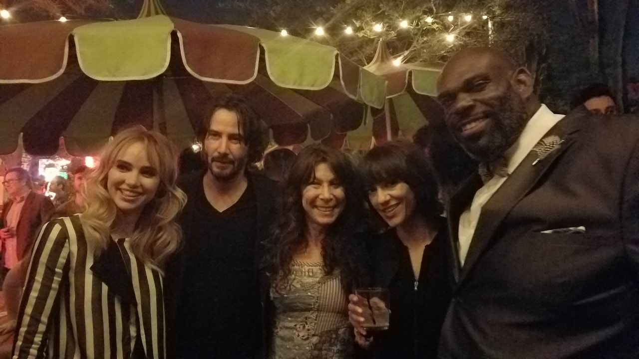 "(L-R) Actress Suki Waterhouse, and Actor Keanu Reeves of ""The Bad Batch,"" comedy writer Shari Verona, Producer/Director Lili Amirpour and Cory Roberts. Amirpour directed ""The Bad Batch,"" and Cory Roberts starred in the mega-independent film."